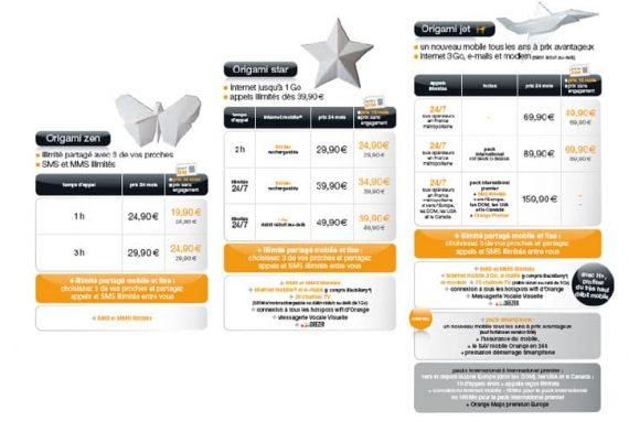 Orange - Nouveaux forfaits Origami Zen, Star et Jet
