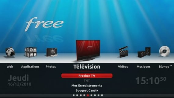 Interface de la Freebox Révolution