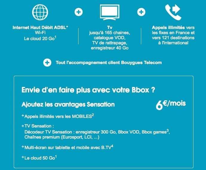 Bouygues Telecom : nouvelle option Sensation à 6 euros / mois