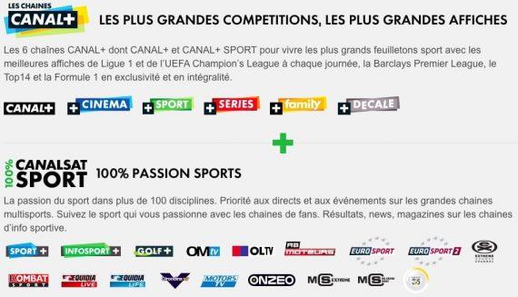 Les chaînes CANAL+ et Canalsat 100% Sport