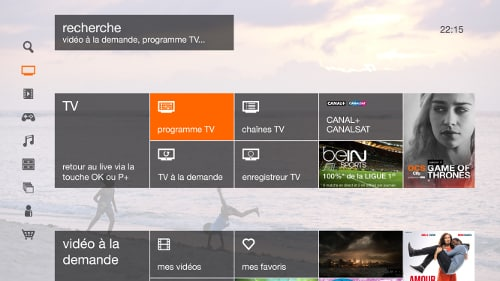 Interface du décodeur Livebox Play d'Orange