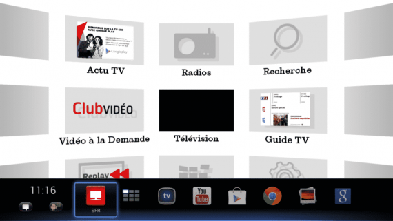 Interface du décodeur SFR TV avec Google Play