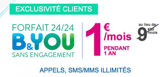 Bouygues Telecom : forfait illimité B&You à 1 euro
