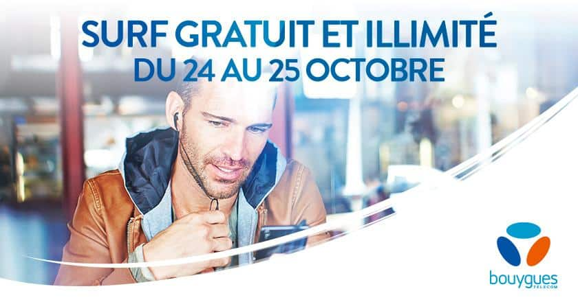 client mobile bouygues telecom surf 4g gratuit et illimit ce week end adsl et fibre fr. Black Bedroom Furniture Sets. Home Design Ideas