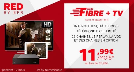 RED by SFR : promotion RED Fibre + TV sur showroomprive.com
