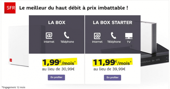 la box adsl de sfr aussi en promotion 1 99 euro par mois pendant 1 an adsl et fibre fr. Black Bedroom Furniture Sets. Home Design Ideas