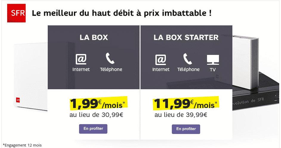 la box adsl de sfr aussi en promotion 1 99 euro par mois pendant 1 an adsl et fibre fr. Black Bedroom Furniture Sets. Home Design Ideas