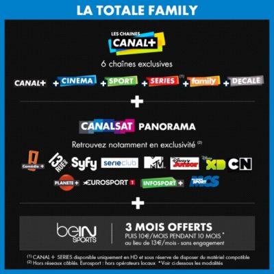 Vente privée CANAL+ / Canalsat : La Totale Family (décembre 2015)