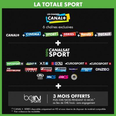Vente privée CANAL+ / Canalsat : La Totale Sport (décembre 2015)