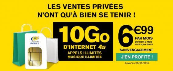 La Poste Mobile : forfait 4G 10Go à 6,99 euros / mois (février-mars 2016)