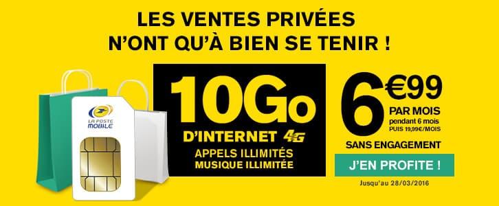 la poste mobile forfait 4g 10 go 6 99 euros par mois pendant 6 mois adsl et fibre fr. Black Bedroom Furniture Sets. Home Design Ideas