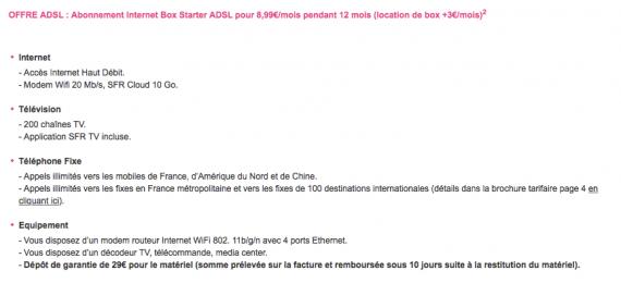 Vente showroomprivé (ADSL) : dépôt de garantie indiqué sur le site de showroomprivé