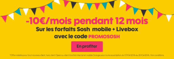 Sosh : promotion mobile + Livebox (avril 2016)