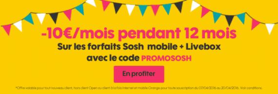 Sosh : promotion mobile + Livebox (avril 2016)