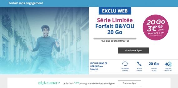Bouygues Telecom : série limitée 20 Go (juin 2016)