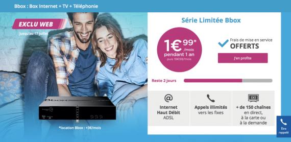 Bouygues Telecom : série limitée Bbox ADSL à 4,99 euros / mois avec engagement de 24 mois (juillet 2016)