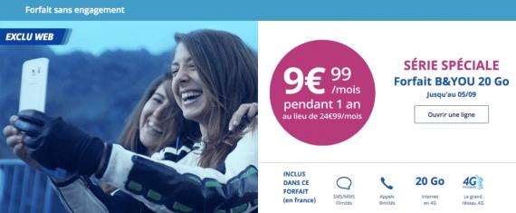 Bouygues Telecom : série limitée 20 Go (août 2016)
