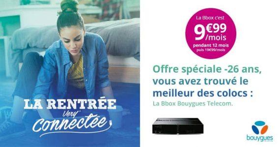 Bouygues Telecom : promotion Bbox ADSL à 9,99 euros / mois pour les moins de 26 ans (rentrée 2016)