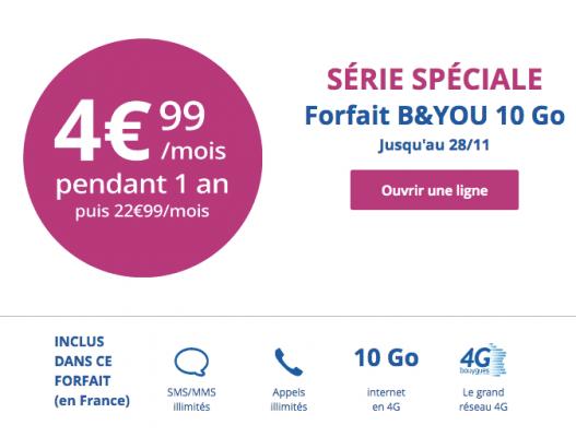 Bouygues Telecom : série limitée 10 Go (novembre 2016)