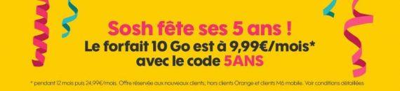 """Sosh : promotion spéciale """"5 ans"""" sur le forfait mobile 10 Go (novembre 2016)"""