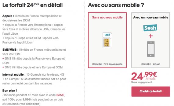 Sosh : forfait mobile 10 Go (novembre 2016)