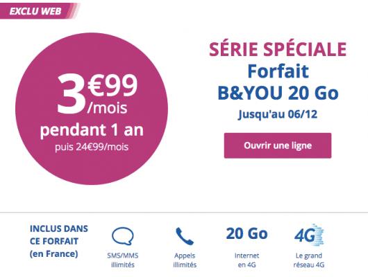 Bouygues Telecom : série limitée 20 Go (décembre 2016)