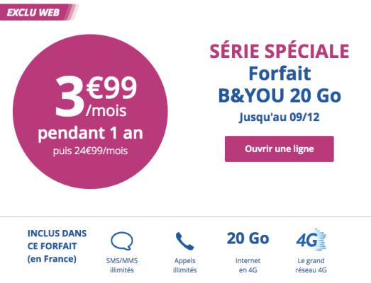 Bouygues Telecom : prolongation de la série limitée 20 Go (décembre 2016)