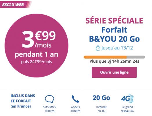 Bouygues Telecom : 2e prolongation de la série limitée 20 Go (décembre 2016)