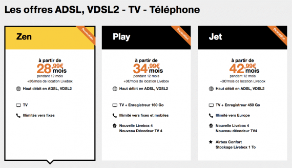 Orange : tarifs promotionnels Livebox ADSL / VDSL2 (Noël 2016)