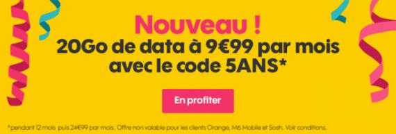 """Sosh : promotion spéciale """"5 ans"""" sur le forfait mobile 20 Go (décembre 2016)"""