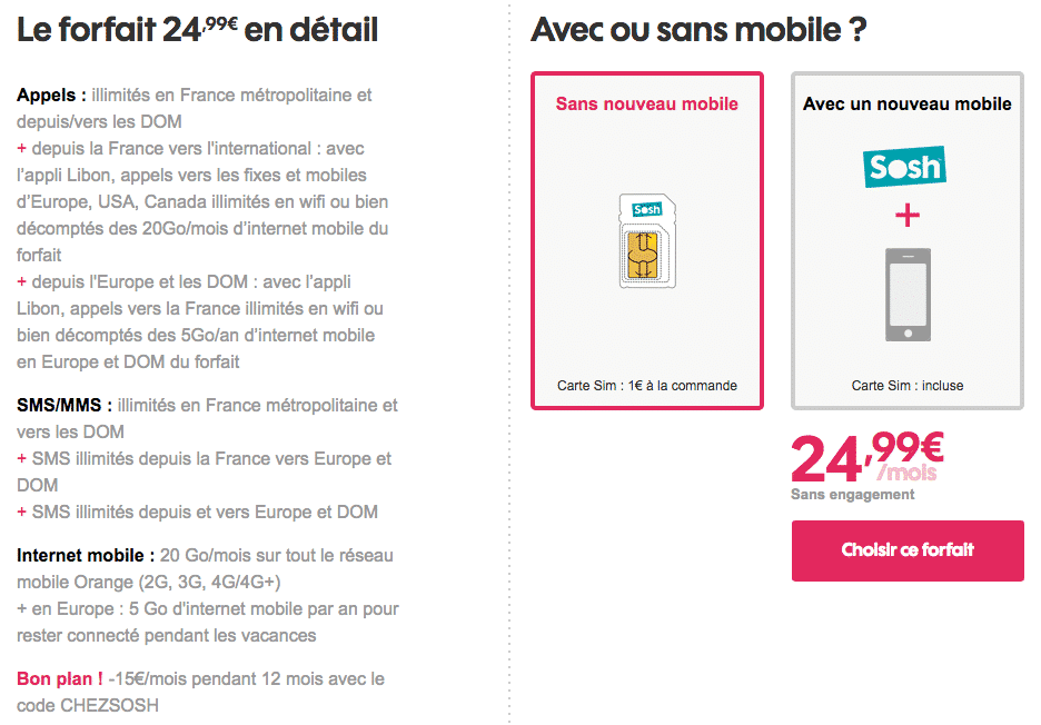 sosh le forfait mobile 20 go 9 99 euros par mois pendant un an en promotion adsl et fibre fr. Black Bedroom Furniture Sets. Home Design Ideas