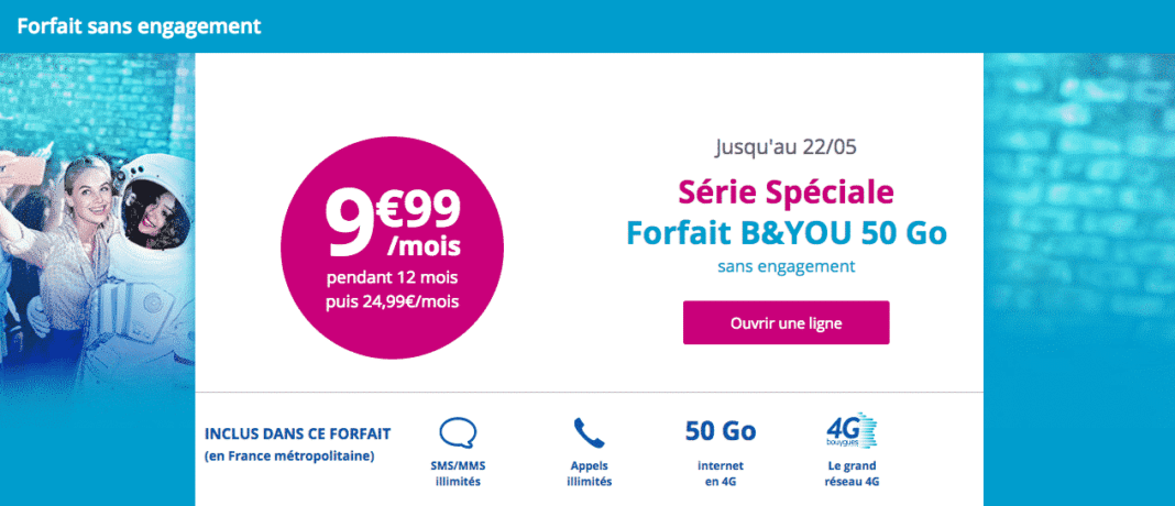 bouygues telecom relance son forfait mobile 50 go 9 99 euros par mois pendant 1 an adsl et. Black Bedroom Furniture Sets. Home Design Ideas