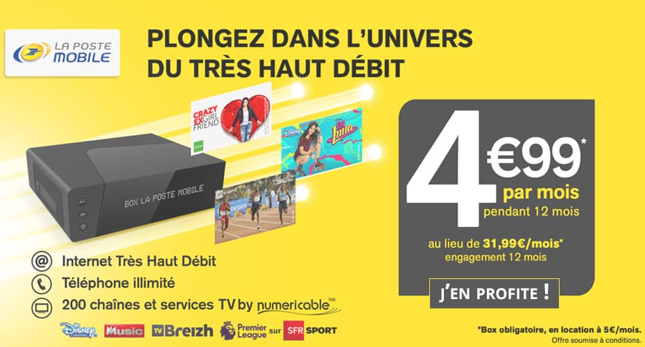 la poste mobile la box thd 9 99 euros par mois en vente priv e adsl et fibre fr. Black Bedroom Furniture Sets. Home Design Ideas