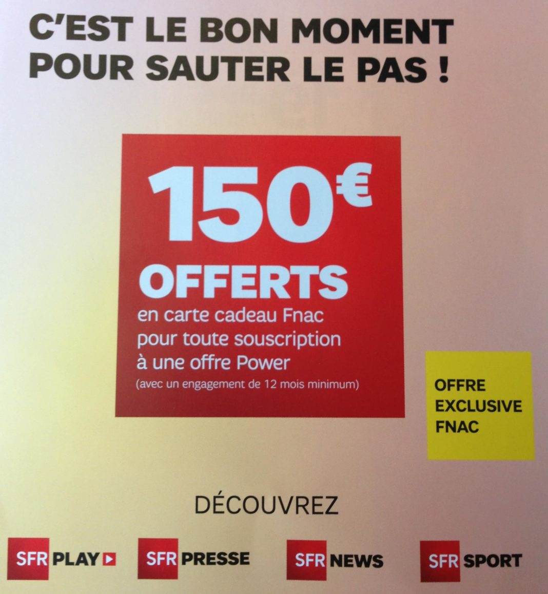 150 euros offerts la fnac pour un abonnement box ou mobile sfr power adsl et fibre fr. Black Bedroom Furniture Sets. Home Design Ideas