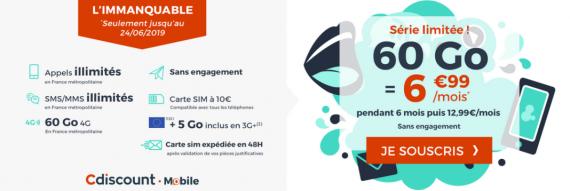 Cdiscount Mobile : forfait mobile 60 Go à 6,99 euros par mois pendant 6 mois