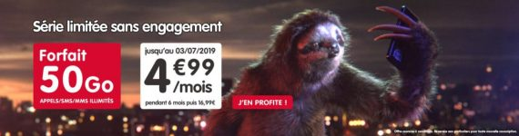 NRJ Mobile : forfait mobile 50 Go à 4,99 euros par mois pendant 6 mois