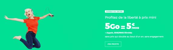 """RED by SFR : forfait mobile 5 Go en promotion à 5 euros par mois """"à vie"""" (juin 2019)"""
