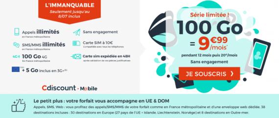 Cdiscount Mobile : forfait mobile 100 Go à 9,99 euros par mois pendant 1 an