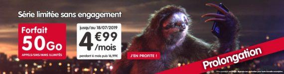 NRJ Mobile : prolongation du forfait mobile 50 Go à 4,99 euros par mois pendant 6 mois