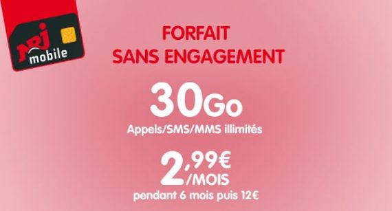 NRJ Mobile : forfait mobile 30 Go à 2,99 euros par mois pendant 6 mois en vente privée (juillet / aout 2019)