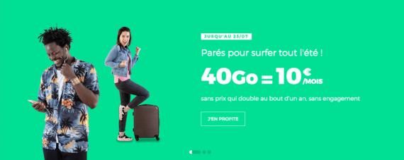 """RED by SFR : forfait mobile 40 Go en promotion à 10 euros par mois """"à vie"""" (juillet 2019)"""