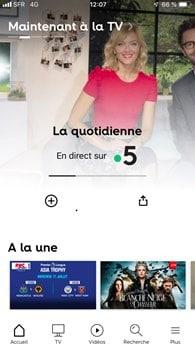 SFR : nouvelle application TV 2019 (interface)