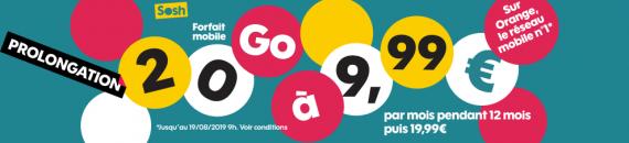 Sosh : prolongation de la promotion sur le forfait mobile 20 Go (juillet / août 2019)