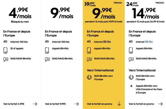 Sosh : gamme des forfaits mobiles en promotion (juillet 2019)