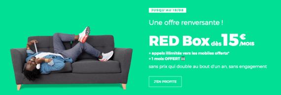 RED by SFR : la box ADSL, fibre optique ou THD à partir de 15 euros par mois avec 1 mois offert (août 2019)