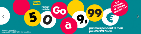 Sosh : promotion sur le forfait mobile 50 Go (août 2019)