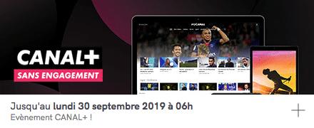 CANAL+ en vente privée à 9,90 euros par mois sans engagement sur Veepee (septembre 2019)