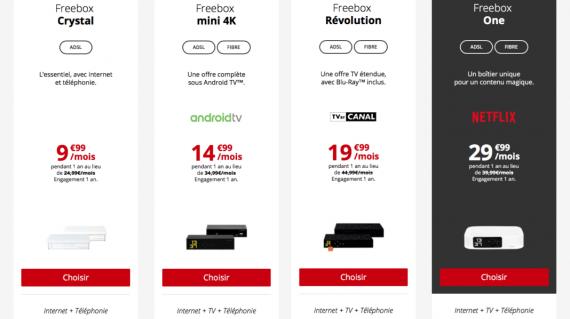 Free : gamme Freebox ADSL / VDSL2 / fibre optique en promotion (octobre 2019)