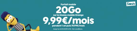 Sosh : promotion sur le forfait mobile 20 Go et le forfait mobile 50 Go (octobre 2019)