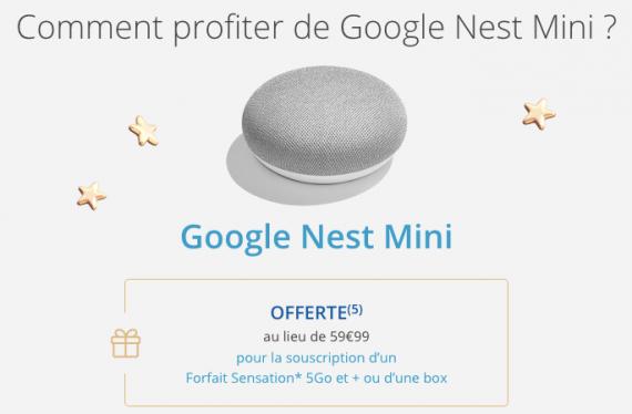 Bouygues Télécom : Google Nest Mini offert (Noël 2019)